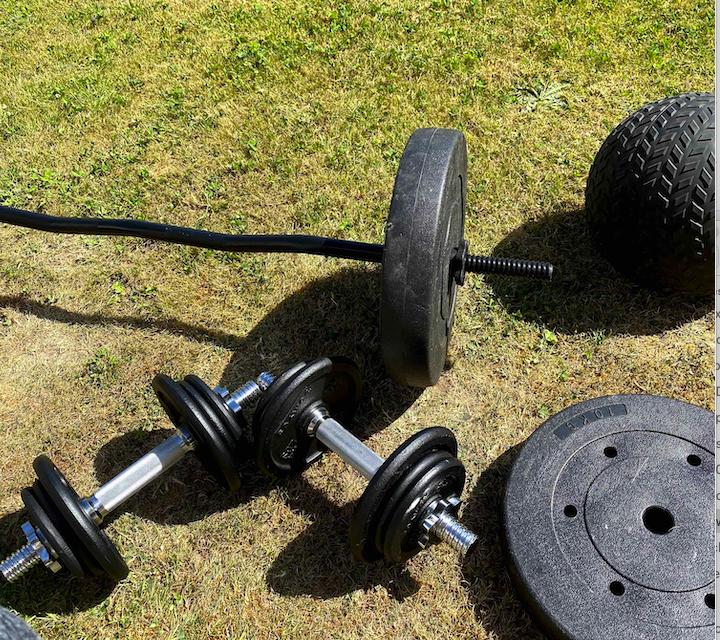 Home gym equipment on grass