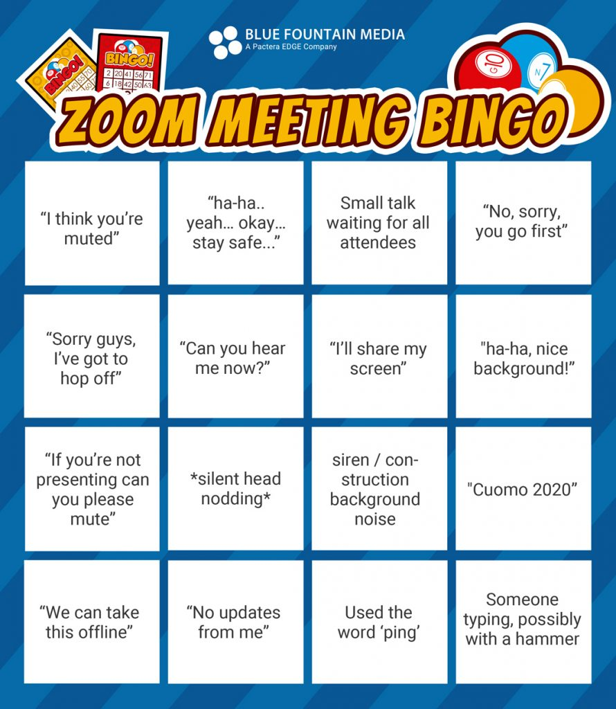 A bingo card with entries for a zoom call